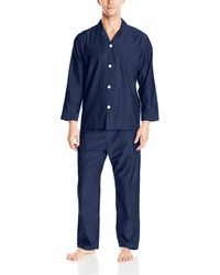 Geoffrey Beene Long Sleeve Broadcloth Pajama Set - Blue