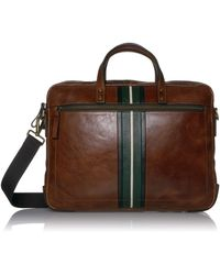 Fossil Haskell Double Zip Workbag Briefcase - Brown