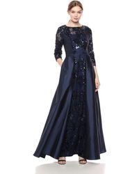 Adrianna Papell Sequin Gown With Taffeta Skirt Overlay - Blue