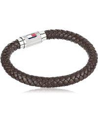 Tommy Hilfiger Jewelry Leather Single Wrap Magnet Barrel Bracelet - Brown