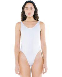 American Apparel Nylon Tricot High-cut Sleeveless One-piece - White