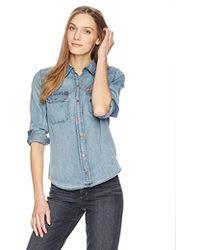 Calvin Klein Jeans Long Sleeve Denim Button Down Shirt - Blue