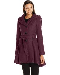 Steve Madden Single Breasted Wool Coat - Purple