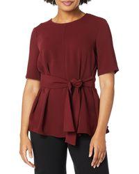 Nine West Short Sleeve Jewel Neck Blouse With Tie Belt - Red