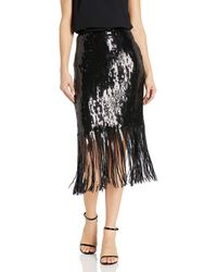 Vince Camuto Fringe Sequin Side Zip Skirt - Black