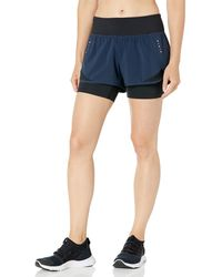 "Core 10 Amazon Brand - Women's (xs-3x) Knit Waistband '2-in-1"" Run Short With Built-in Compression Shorts, -navy/black, Large - Blue"