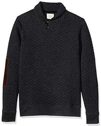 Billy Reid Diamond Quilted Shawl Pullover With Suede Elbow Patches - Black