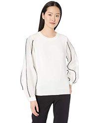 Nicole Miller Sheer Sleeve Pullover Sweater - White