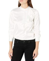Tahari Stand-collar Ruffle-trim Top - White