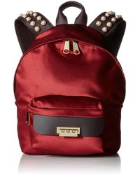 Zac Zac Posen Eartha Iconic Small Backpack-satin And Pearls - Red