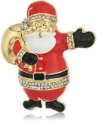 Napier - Gold-tone And Multi Santa Clause Brooch And Pin - Lyst
