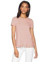 Adrianna Papell Short Sleeve Ruffle Sweater - Pink