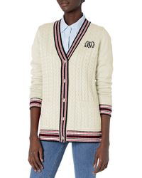 Tommy Hilfiger Thin Button Up Sweater - White