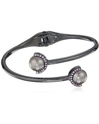 Kenneth Cole - Pearl Mix Pearl Bypass Hinged Bracelet, Grey - Lyst