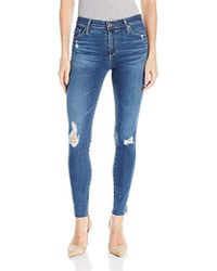 AG Jeans Farrah Ankle High Rise Skinny Jean In Interim Destroyed - Blue