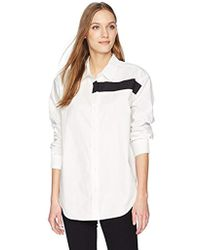 Calvin Klein - Button Down Oxford Shirt With Black Bar Detail - Lyst