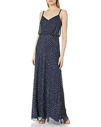 Adrianna Papell Long Beaded Blouson Gown - Blue