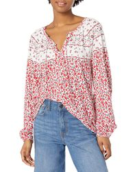 Lucky Brand Long Sleeve V Neck Border Print Peasant Top - Red