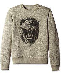 Lucky Brand Shearless Fleece Monster Crew Neck Sweatshirt - Gray