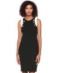 Calvin Klein - Scuba Sheath W/buttons Casual Dress - Lyst