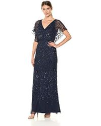 Aidan By Aidan Mattox 3/4 Flutter Sleeve Beaded Gown - Blue