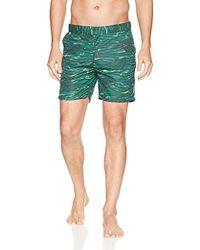 Scotch & Soda Medium Length Swimshort In Sophisticated Patterns - Green