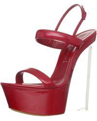 Casadei Platform Clear Wedge Sandal,ciliegia,38.5 Eu/8.5 M Us - Red