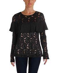 Ivanka Trump - Lace Long Sleeve With Georgette Ruffle Blosue - Lyst