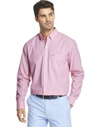Izod Button Down Long Sleeve Stretch Performance Solid Shirt - Multicolor