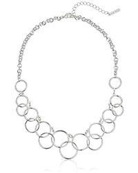 "Nine West - ""classics"" Silver-tone Multi-circle Bib Necklace - Lyst"