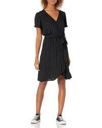 Goodthreads Fluid Twill Wrap Dress Dresses - Nero