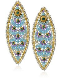 Miguel Ases Swarovski Marquise Earrings - Blue