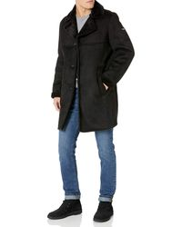 DKNY Shearling Walking Coat With Faux Fur Collar - Black