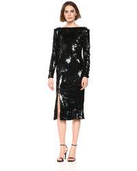 Dress the Population Natalie Long Sleeve Stretch Sequin Midi Sheath Dress - Black