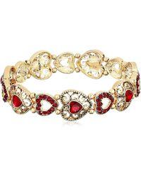 Napier Bracelet 2.25inch Heart Stretch - Red