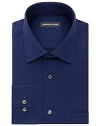 Geoffrey Beene Men's Fitted Wrinkle Free Bedford Cord Dress Shirt - Blue