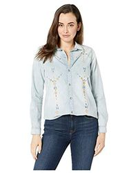 Lucky Brand Denim Embroidered Button Up Bf Shirt - Blue
