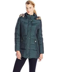 Anne Klein - Down Coat With Faux Fur-trimmed Hood - Lyst