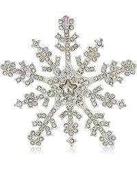 Napier Silver-tone And Crystal Snowflake Brooch And Pin - Metallic