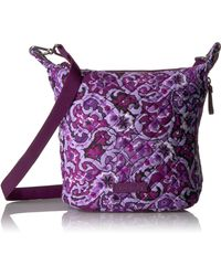 Vera Bradley Signature Cotton Carson Mini Hobo Crossbody Purse - Purple
