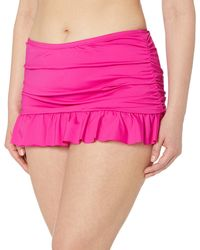 Kenneth Cole Reaction Plus Size Skirted Hipster Bikini Swimsuit Bottom - Pink