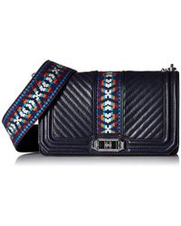 Rebecca Minkoff - Jacquard Love Crossbody With Guitar Strap - Lyst