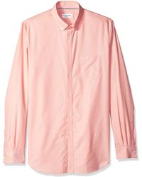 Lacoste Long Sleeve With Pocket Mini Pique Regular Fit Woven Shirt - Pink