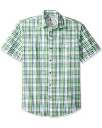 G.H.BASS Explorer Short Sleeve Plaid Shirt - Green