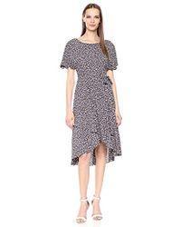 Anne Klein Flutter Sleeve Sash Dress - Gray
