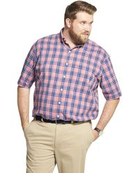 Izod Big And Tall Saltwater Dockside Chambray Short Sleeve Button Down Plaid Shirt - Multicolor