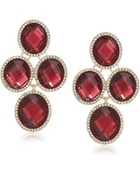 Anne Klein Gold Tone And Burgundy Oval Stone Chandelier Ez Comfort Clip Earrings - Metallic