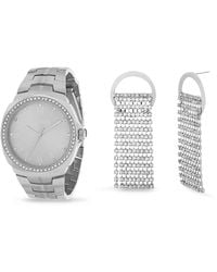 Steve Madden Charm Watch Cross Earring Necklace Set (various Colors) - White