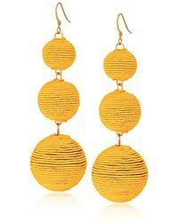 Kenneth Jay Lane - Yellow Thread Ball Drop Earrings - Lyst