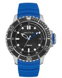 Nautica 'nmx Dive Style Date' Quartz Stainless Steel And Silicone Casual Watch - Black